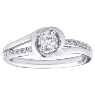 Sterling Silver 0.40ct TDW Round Diamond Engagement Ring (H-I, I1-I2)