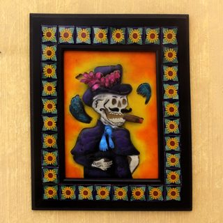 Handmade Iron Talavera Ceramic 'Handsome Catrin' Wall Adornment (Mexico)