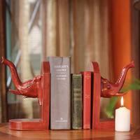 Set of 2 Handcrafted Cedar Wood 'Elephant Guardian' Bookends (Ghana)