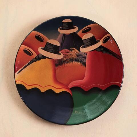 Handmade Ceramic 'Andean Trio' Decorative Plate (Peru)