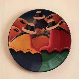 Handcrafted Ceramic 'Andean Trio' Decorative Plate (Peru)