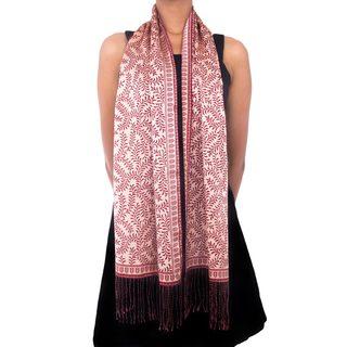 Handmade Silk Batik 'Tropical Tamarind in Red' Scarf (Indonesia)