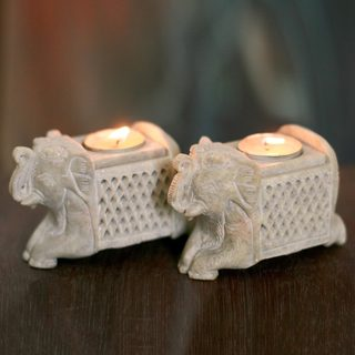 Set of 2 Handcrafted Soapstone 'Versatile Elephants' Tea Light Candleholders (India)