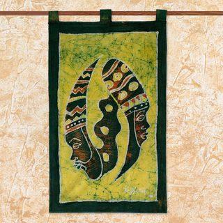 Handcrafted Cotton 'Gye Nyame Duality' Batik Wall Hanging (Ghana)