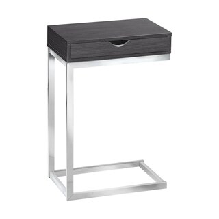Monarch Grey Chrome Metal Accent Table with a Drawer