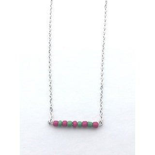 Hot Pink and Green Beaded Bar Necklace