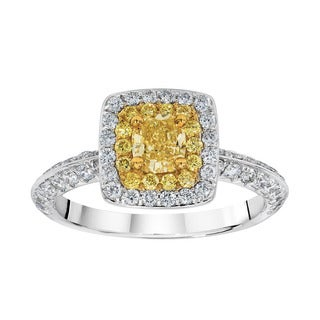 18K Two-tone Gold 1 1/3ct TDW Yellow and White Double Halo Fashion Ring (G-H and Yellow, SI1-SI2)
