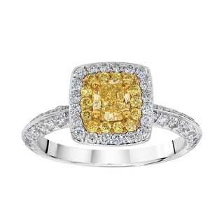 18K Two-tone Gold 1 1/3ct TDW Yellow and White Double Halo Fashion Ring