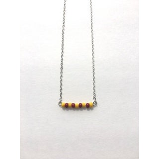 Maroon and Yellow Beaded Game Day Necklace
