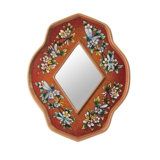 Handcrafted Reverse Painted Glass 'Orange Summer Garden' Wall Mirror (Peru)