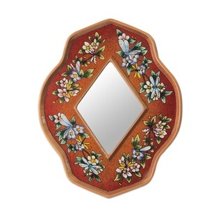 Handmade Reverse Painted Glass 'Orange Summer Garden' Wall Mirror (Peru) - Orange