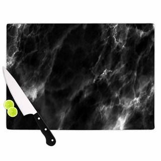KESS InHouse Chelsea Victoria 'Black Marble' Modern White Cutting Board