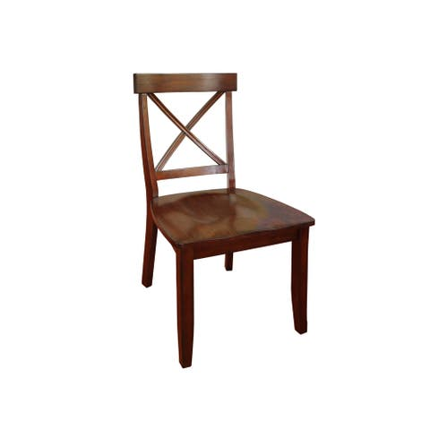 Classic Dining Set of Cherry Finished X Back Design Chairs by Home Styles