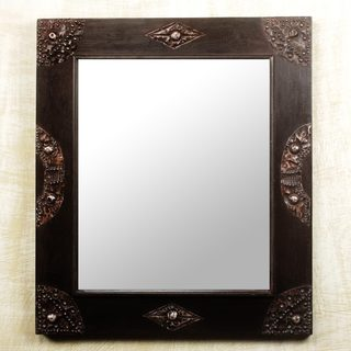 Handcrafted Sese Wood 'In Perfect Shape' Wall Mirror (Ghana)