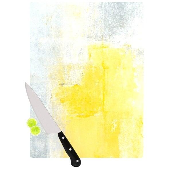 KESS InHouse CarolLynn Tice 'Stability' Yellow White Cutting Board
