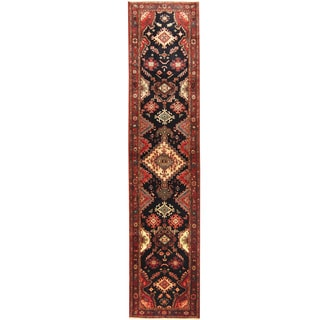 Herat Oriental Persian Hand-knotted Tribal Hamadan Wool Runner (3' x 13')