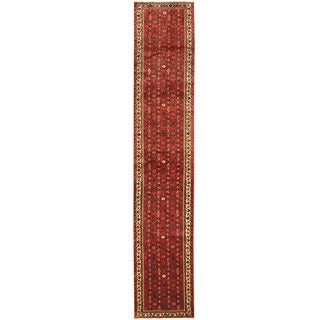 Herat Oriental Persian Hand-knotted Tribal Hamadan Wool Runner (2'5 x 12'6)