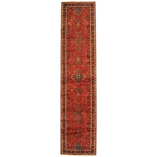 Herat Oriental Persian Hand-knotted Tribal Hamadan Wool Runner (2'10 x 12'4)