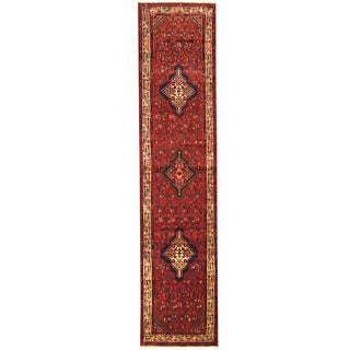 Herat Oriental Persian Hand-knotted Tribal Hamadan Wool Runner (2'10 x 12'6)