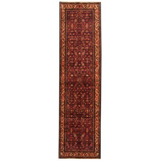 Herat Oriental Persian Hand-knotted Tribal Hamadan Wool Runner (3'6 x 13'4)
