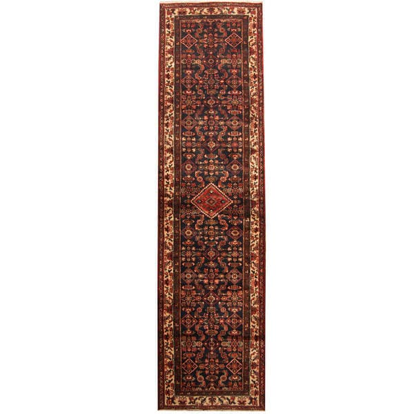 Herat Oriental Persian Hand-knotted Tribal Hamadan Wool Runner (3'5 x 13'3)