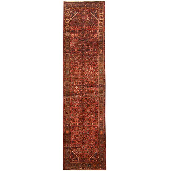 Herat Oriental Persian Hand-knotted Tribal Hamadan Wool Runner (3'2 x 12'2)