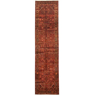 Herat Oriental Persian Hand-knotted Tribal Hamadan Wool Runner (3'2 x 12'2)