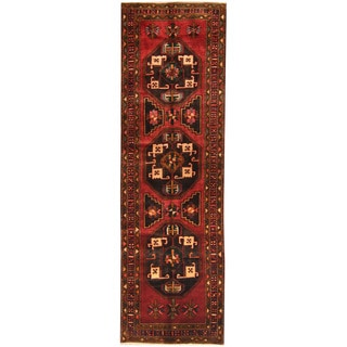 Herat Oriental Persian Hand-knotted Tribal Hamadan Wool Runner (3'8 x 12'3)