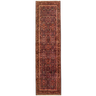 Herat Oriental Persian Hand-knotted Tribal Hamadan Wool Runner (3'4 x 12'8)