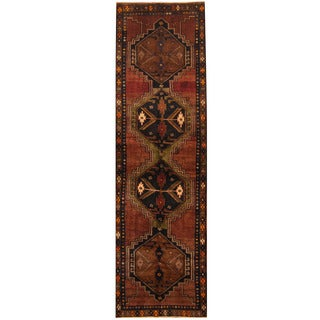 Herat Oriental Persian Hand-knotted Tribal Hamadan Wool Runner (3'9 x 12'10)