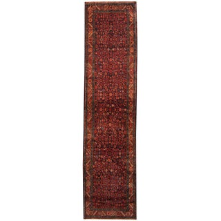 Herat Oriental Persian Hand-knotted Tribal Hamadan Wool Runner (3'5 x 14'2)