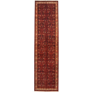 Herat Oriental Persian Hand-knotted Tribal Hamadan Wool Runner (3'6 x 13'3)
