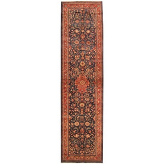 Herat Oriental Persian Hand-knotted Tribal Hamadan Wool Runner (3'8 x 14')