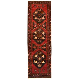 Herat Oriental Persian Hand-knotted Tribal Hamadan Wool Runner (4' x 13')