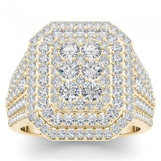 De Couer 14k Yellow Gold 1 1/2ct TDW Diamond Double Halo Engagement Ring (H-I, I2)