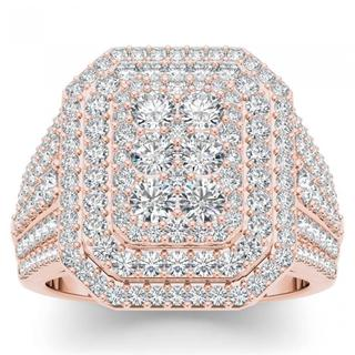 De Couer 14k Rose Gold 1 1/2ct TDW Diamond Double Halo Engagement Ring (H-I, I2)