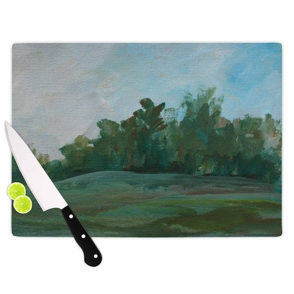 KESS InHouse Cyndi Steen 'Stand Of Trees' Green Blue Cutting Board