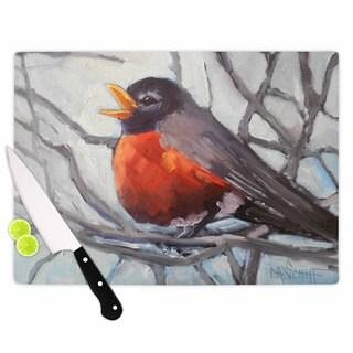 KESS InHouse Carol Schiff 'Winter Robin' Grey Red Cutting Board