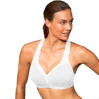 Champion Blue/White Polyester/Spandex Curvy Show-off Racerback Medium-support Sports Bra