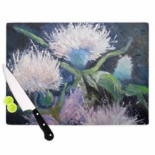 KESS InHouse Carol Schiff 'Thistle Love' Pink Green Cutting Board