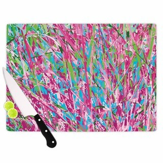 KESS InHouse Empire Ruhl 'Spring Grass Abstract' Pink Teal Cutting Board