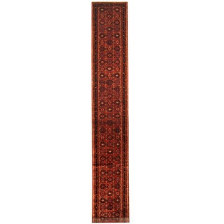 Herat Oriental Persian Hand-knotted Tribal Hamadan Wool Runner (2'4 x 15'10)