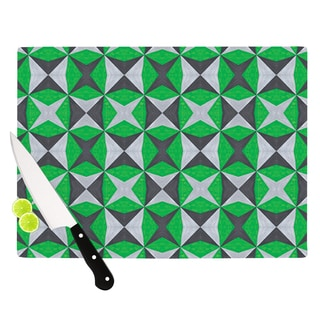 KESS InHouse Empire Ruhl 'Silver and Green Abstract' Green Black Cutting Board