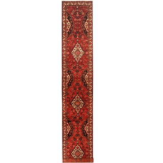 Herat Oriental Persian Hand-knotted Tribal Hamadan Wool Runner (2'9 x 17'4)