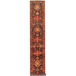 Herat Oriental Persian Hand-knotted Tribal Hamadan Wool Runner (2'10 x 18')