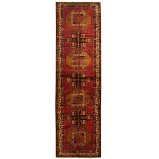 Herat Oriental Persian Hand-knotted Tribal Hamadan Wool Runner (3'10 x 13'5)