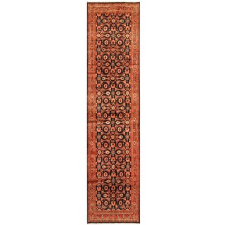 Herat Oriental Persian Hand-knotted Tribal Hamadan Wool Runner (3' x 13'6)
