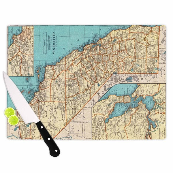KESS InHouse Catherine Holcombe 'So Cal Surf Map' Beige Blue Cutting Board