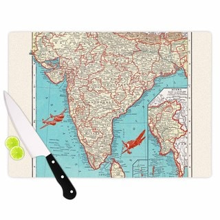 KESS InHouse Catherine Holcombe 'Travel To India' Teal Red Cutting Board