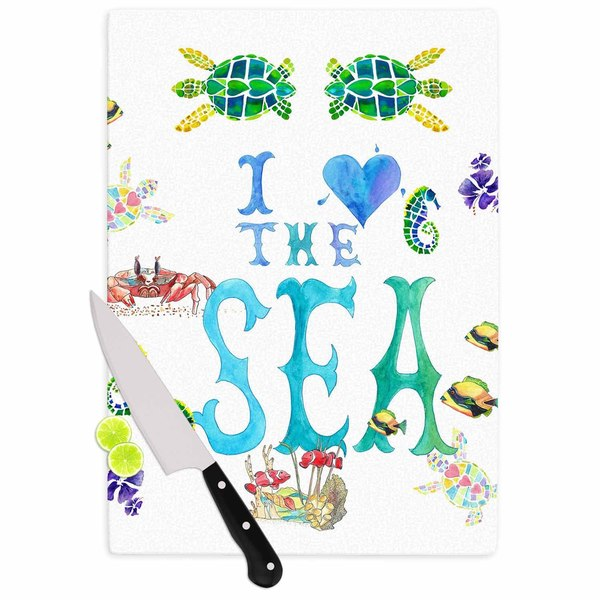 KESS InHouse Catherine Holcombe 'I Love The Sea' Ocean Typography Cutting Board